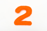 Orange color felt numeral 2