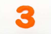 Orange color felt numeral 3