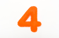 Orange color felt numeral 4
