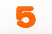 Orange color felt numeral 5
