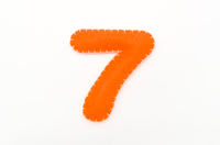 Orange color felt numeral 7