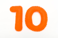 Orange color felt numeral 10
