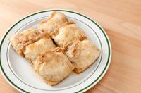 Japanese food, fried tofu stuffing with beef meat,