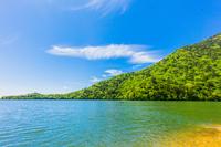 新緑の湯ノ湖と青空と雲