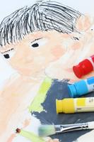 友達の顔を描く(水彩画)