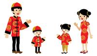 春節 民族衣装 四人家族 案内 白バック