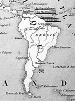 古い世界地図 南米大陸