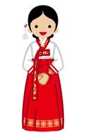 韓国の民族衣装を着る若い女性 正面