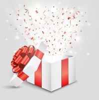 プレゼント箱から飛び出る赤い紙吹雪