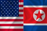アメリカ 北朝鮮  国旗 背景
