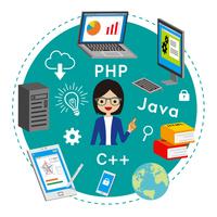 プログラミング教育 コンセプトアート - 眼鏡の女性