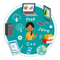 プログラミング教育 コンセプトアート - インド人女性