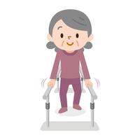 歩行訓練 シニア女性