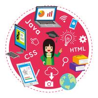 プログラミング教育 コンセプトアート - 子供 女の子 日本人