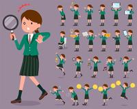 flat type school girl Green Blazer_2