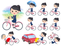 school girl Sailor suit ride on city bicycle