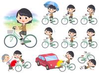 school girl Brown Blazer ride on city bicycle
