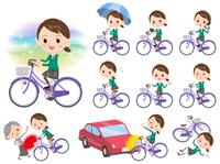 school girl Green Blazer ride on city bicycle