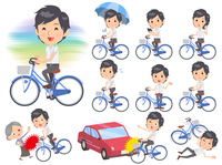 White short sleeved shirt business men ride on city bicycle