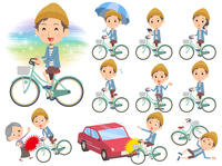 Jacket Short pants knit hat man ride on city bicycle