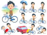 school boy Brown Blazer ride on city bicycle