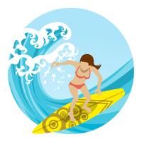 サーフィンを楽しむ女性 顔なし 円形クリップアート