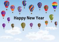 カラフルな熱気球の年賀状
