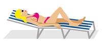 デッキチェアーに横たわる女性 - 側面