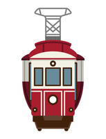 レトロな路面電車 正面