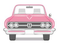 ピンク色のオープンカー 正面