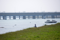 週末の川のほとりで釣りを楽しむ女性