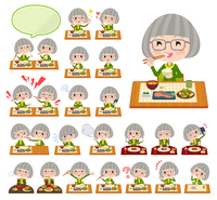 green shirt old women_Meal
