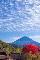 紅葉のわらぶき屋根と富士山
