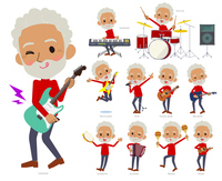 red high neck old man black_pop music