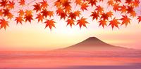 富士山 紅葉 秋 背景