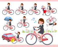 flat type Gray suit business women_city cycle