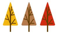 木のアイコン 紅葉 三角形 3色