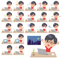 red Tshirt Glasse men_desk work