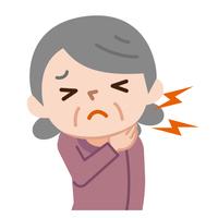 首を痛がるシニア女性