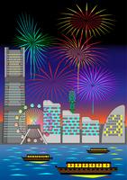 横浜みなとみらいの花火大会のイラスト