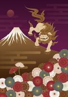 富士山と狛犬と菊の花の和風イラスト