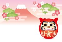 亥だるまと赤富士の年賀状