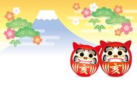 亥だるまと富士山の年賀状