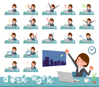 flat type Gray suit business women_desk work