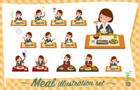 flat type Gray suit business women_Meal