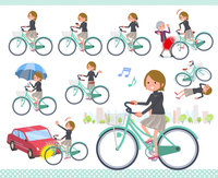 flat type Short hair women_city cycle