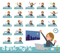 flat type Short hair women_desk work