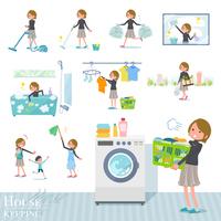 flat type Short hair women_housekeeping