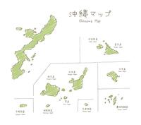 手書きの沖縄諸島マップイラスト