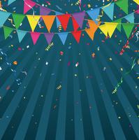 カラフルなパーティーフラッグと紙吹雪の背景